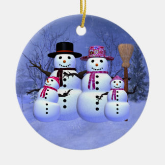 Snow Family with 2 Girls Ornament