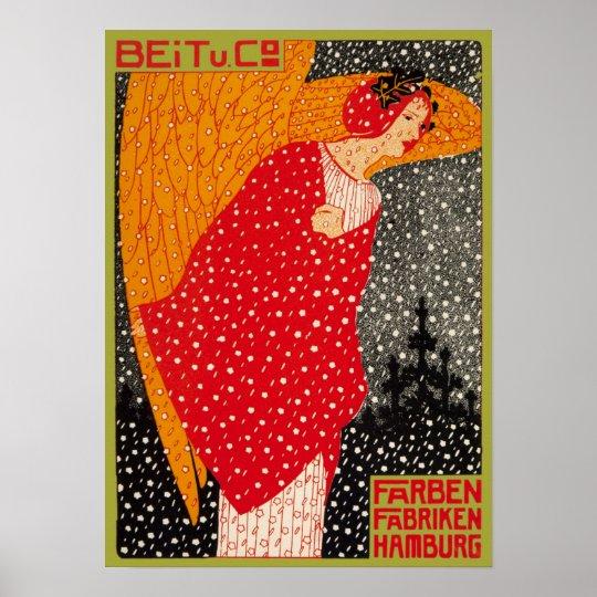 Snow Fantasy Georg Tippel Vintage German Angel Poster