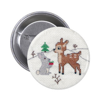 Snow Fawn and bunny Cross Stitch 2 Inch Round Button