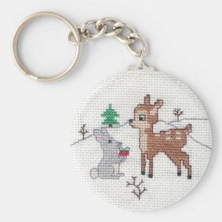Snow Fawn and bunny Cross Stitch Basic Round Button Keychain