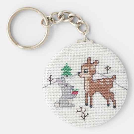 Snow Fawn and bunny Cross Stitch Keychain