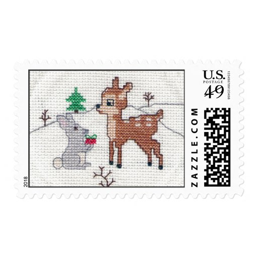 Snow Fawn and bunny Cross Stitch Postage Stamp