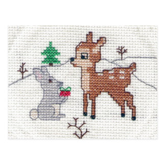 Snow Fawn and bunny Cross Stitch Postcard
