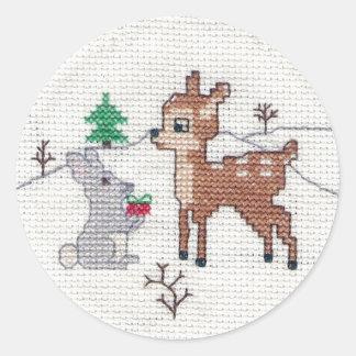 Snow Fawn and bunny Cross Stitch Round Stickers