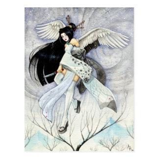 Snow & Feathers Geisha Art Postcard