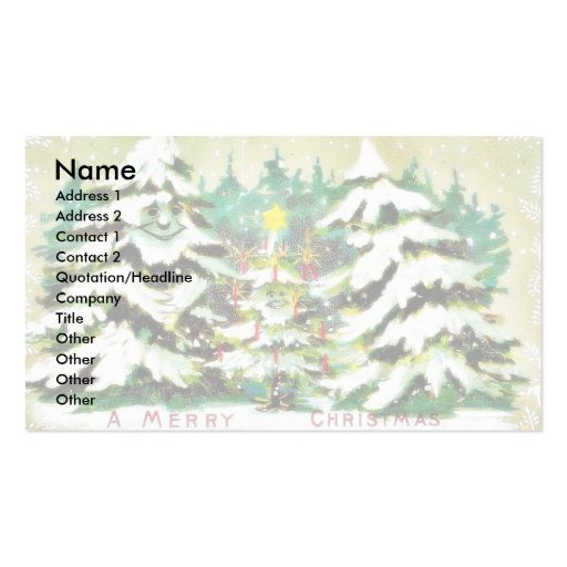 snow fell on house and the christmas tree business cards