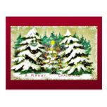 snow fell on house and the christmas tree postcard