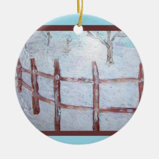 Snow Field Fence Ceramic Ornament