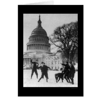 Snow Fight at Capital Washington, DC 1925 Greeting Card