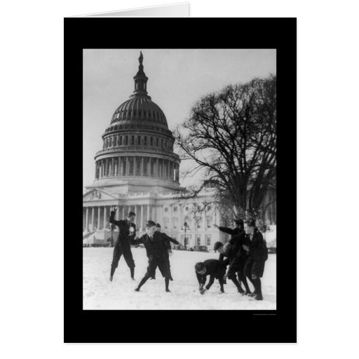 Snow Fight at Capital Washington, DC 1925 Greeting Cards