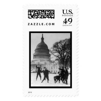 Snow Fight at Capital Washington, DC 1925 Postage