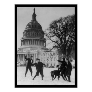 Snow Fight at Capital Washington, DC 1925 Poster