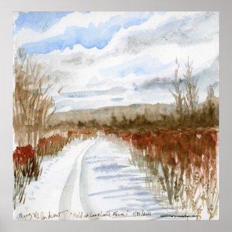 Snow Filled Field winter landscape print