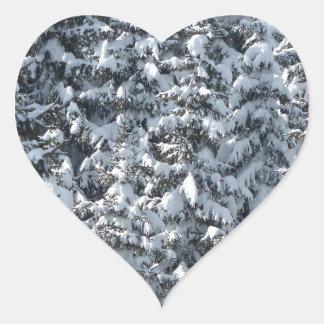 Snow Fir Tree Texture Heart Sticker