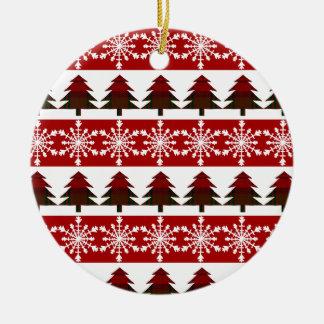 Snow Flake and Plaid Christmas Tree Ornament