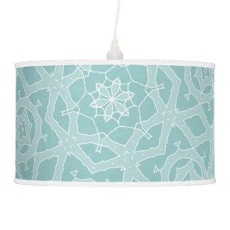 Snow flake pattern teal hanging pendant lamp