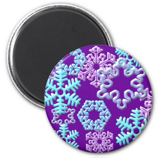 Snow Flakes 3D Pattern Design2 2 Inch Round Magnet