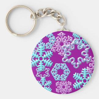 Snow Flakes 3D Pattern Design2 Basic Round Button Keychain