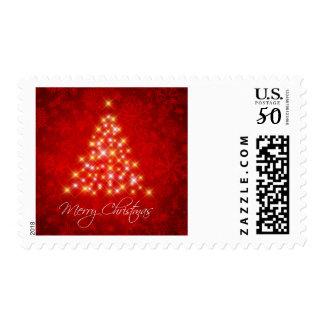 Snow flakes and Lights Christmas tree Postage