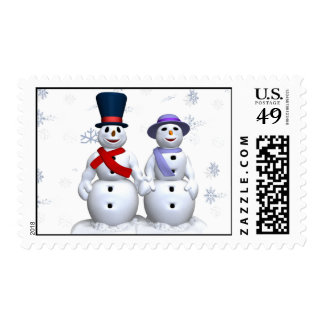 snow flakes and snowpeople postage