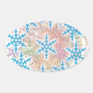 SNOW Flakes Blue Oval Sticker