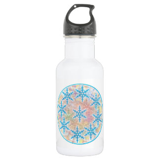 SNOW Flakes Blue Water Bottle