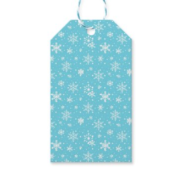 Beach Themed Snow Flakes Frozen Blue Gift Tags