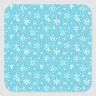 Beach Themed Snow Flakes Frozen Blue Square Sticker