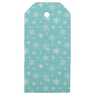 Beach Themed Snow Flakes Frozen Blue Wooden Gift Tags