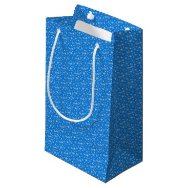 Beach Themed Snow Flakes in Blue and White Small Gift Bag