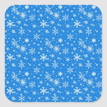 Beach Themed Snow Flakes in Blue and White Square Sticker