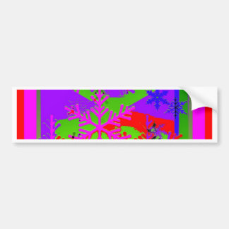 Snow Flakes in colorful Design by Shales Car Bumper Sticker