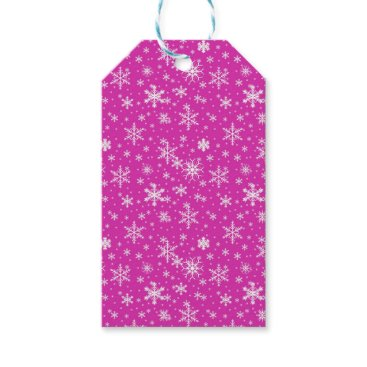 Beach Themed Snow Flakes in Pink and White Gift Tags