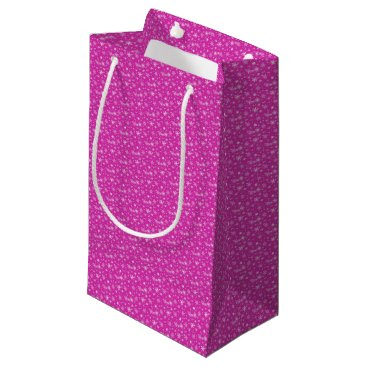Beach Themed Snow Flakes in Pink and White Small Gift Bag
