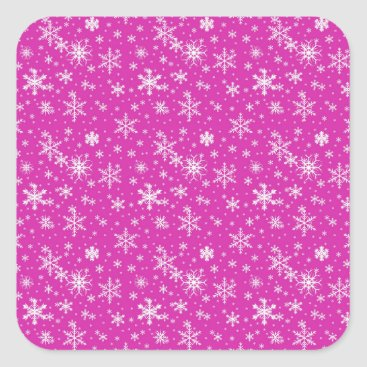 Beach Themed Snow Flakes in Pink and White Square Sticker