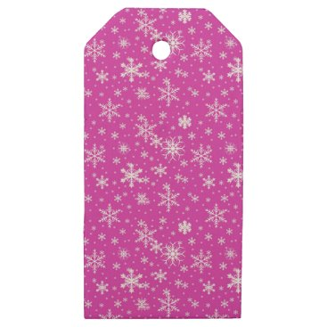 Beach Themed Snow Flakes in Pink and White Wooden Gift Tags