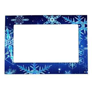 Snow flakes magnetic photo frame