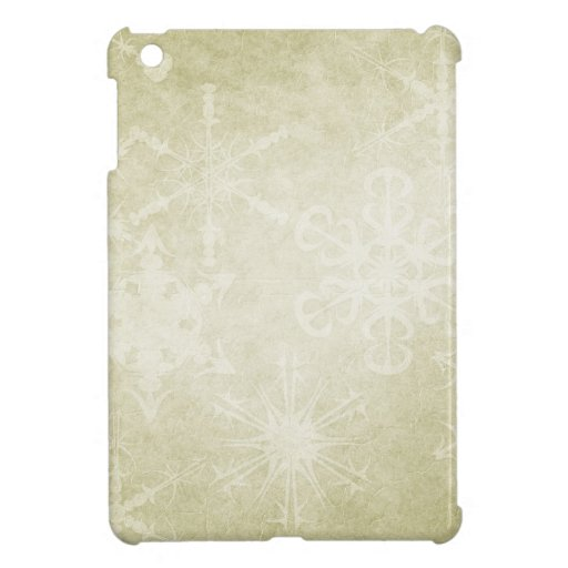 Snow Flakes on Soft Green Background iPad Mini Cover