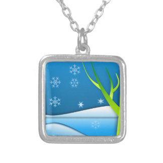 Snow Flakes Scene Personalized Necklace