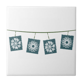 Snow Flakes Small Square Tile