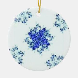 Snow flakey ceramic ornament