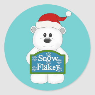 Snow Flakey Christmas Bear Art Classic Round Sticker