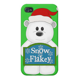Snow Flakey Christmas Bear Art iPhone 4/4S Covers