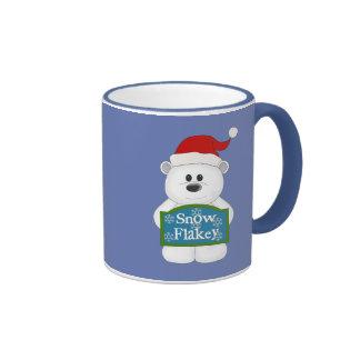 Snow Flakey Christmas Bear Art Ringer Mug