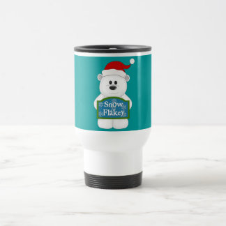 Snow Flakey Christmas Bear Art Travel Mug