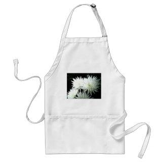 Snow Flower Black and white Chrysanthemum Adult Apron