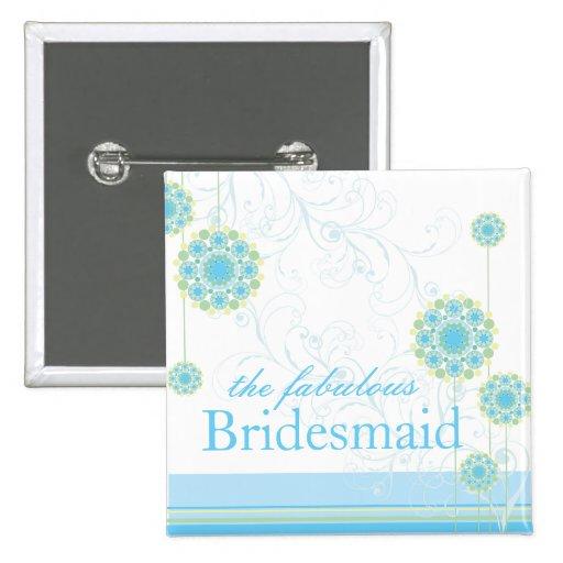 Snow Flower Swirls Blue Bridesmaid Custom Button