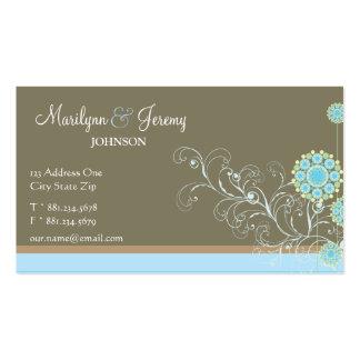 Snow Flower Swirls Blue Custom Profile Card /