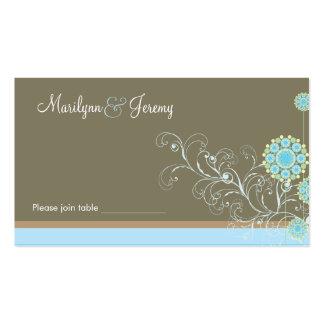 Snow Flower Swirls Blue Custom Table / Place Card