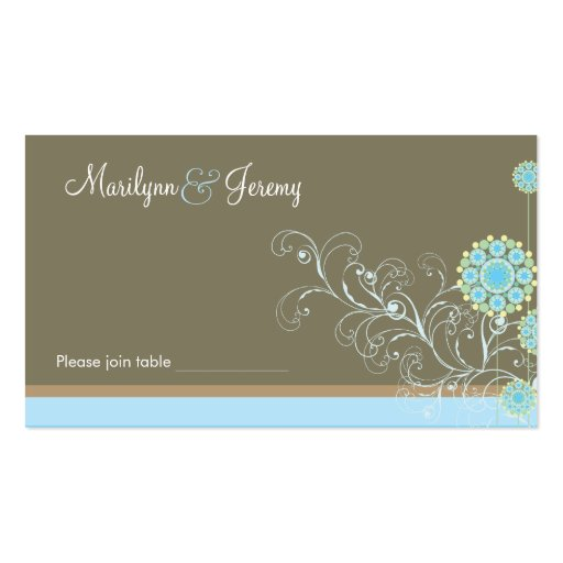 Snow Flower Swirls Blue Custom Table / Place Card Business Card Template